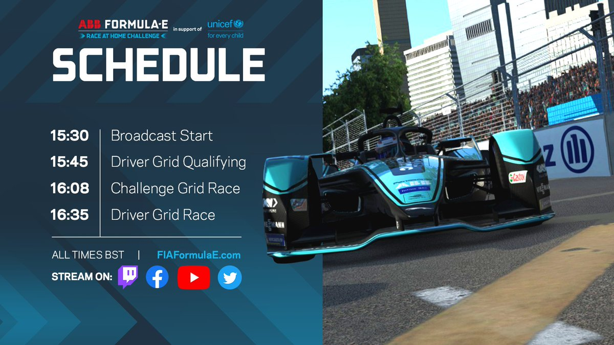 Watch Round 5 of the ABB Formula E #RaceAtHome Challenge in support of @UNICEF today! #ABBFormulaE https://t.co/2wydamMLxg