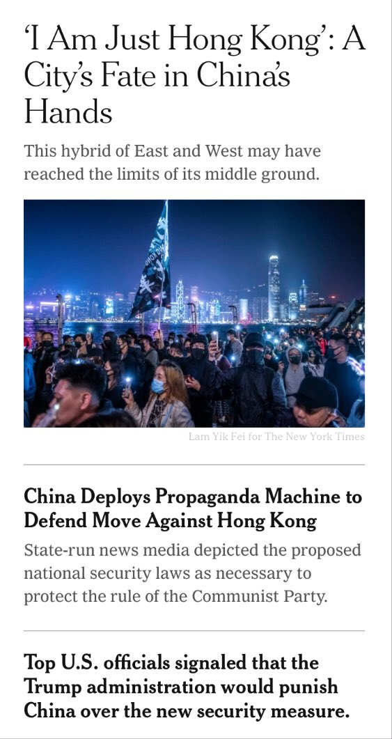 .@nytimes currently has 3 articles about #HK on its front page, the most prominently featured foreign news. It's up to us in HK to keep it there. The West is distracted by coronavirus at home. We have a small window of opportunity to draw world attention back here. pic.twitter.com/fHz9pu4TfE