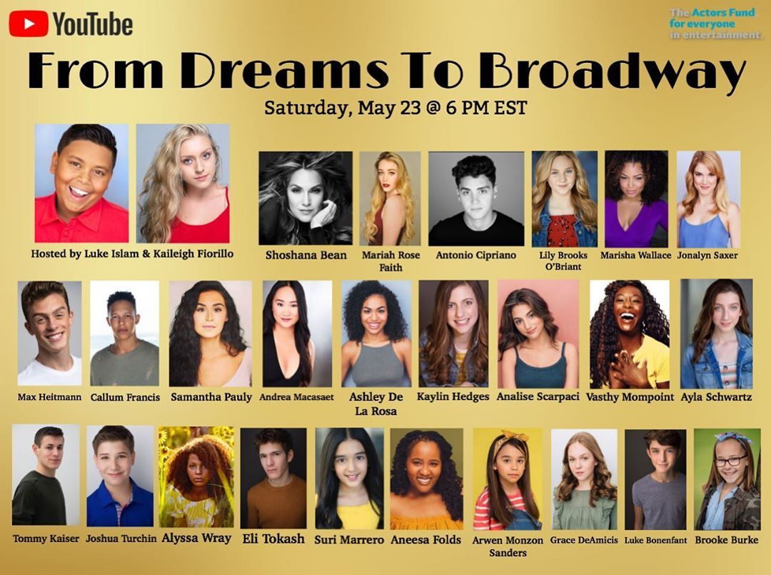 "TODAY: ""From Dreams to Broadway"" will bring together kids from #CursedChildNYC, #Frozen, and more to benefit The Actors Fund! Watch here:"