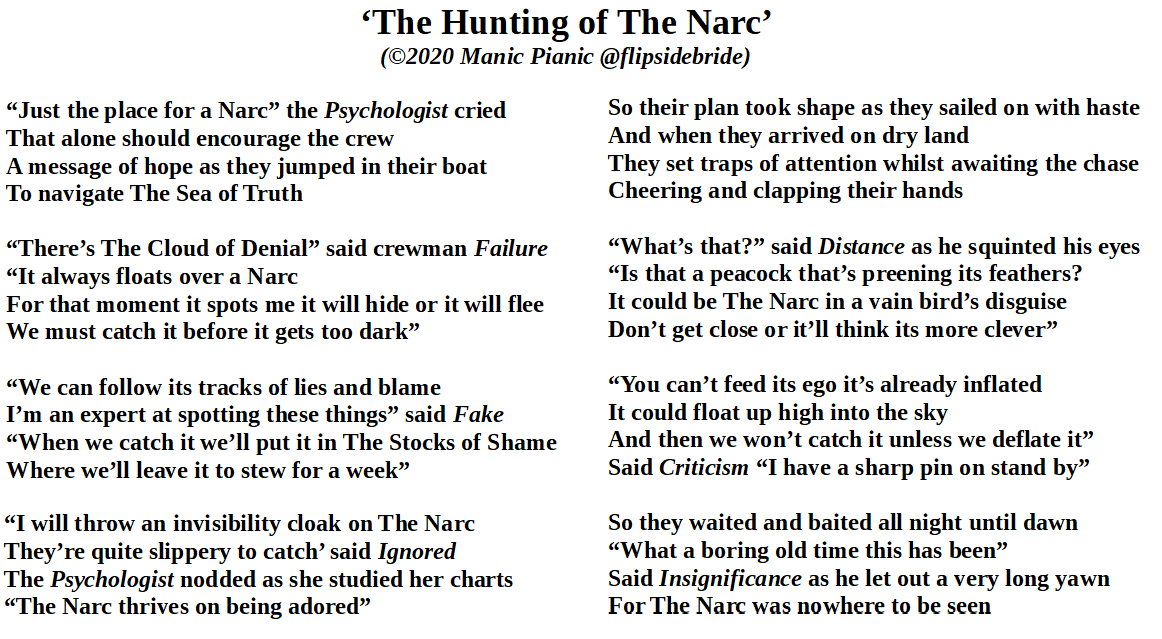 My new #poem for #May, loosely based on #TheHuntingOfTheSnarc by #LewisCarroll but a bit more #psychological! I hope @brian_bilston might like it, although he's definitely not a #narcissist lol! :-D x  #poetry #poet #NarcissisticPersonalityDisorder #narcissism #projection<br>http://pic.twitter.com/x8DjDprYIO
