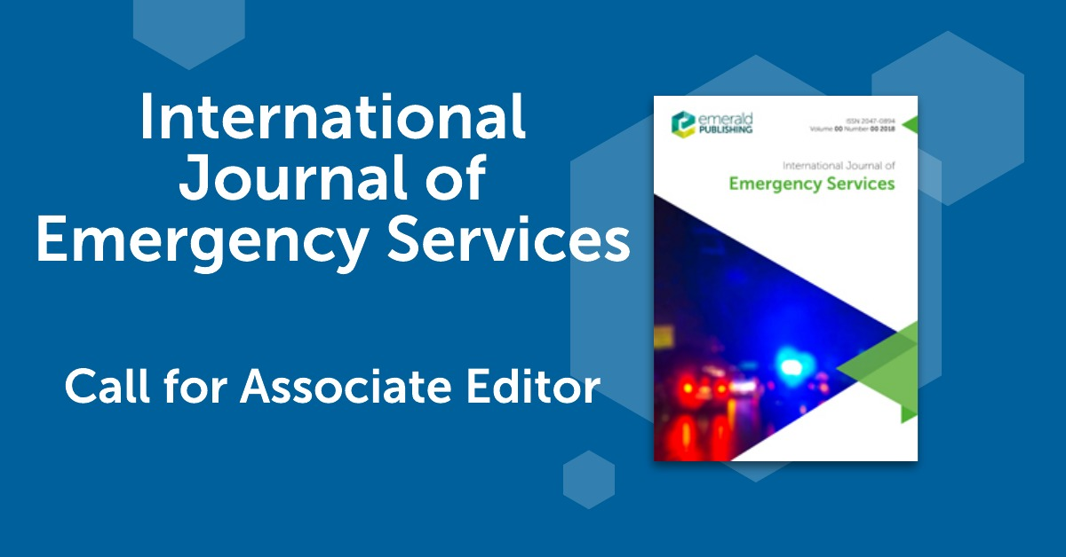 RT @EmeraldPolSci International Journal of Emergency Services (IJES) is calling for an Associate Editor. Visit here for more info https://t.co/BDwoJfY51U