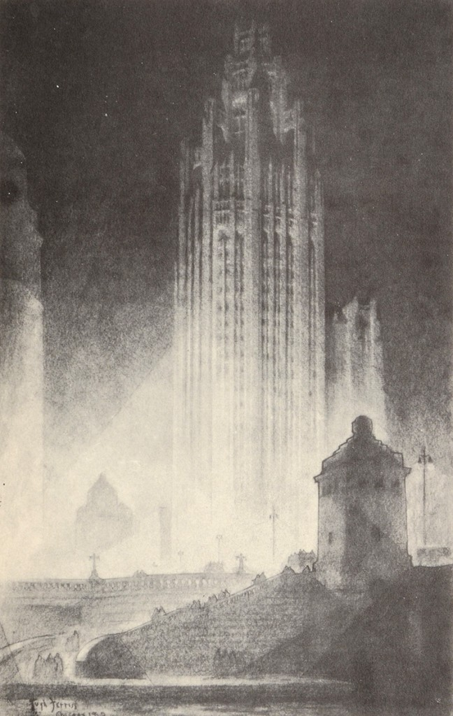 """Hugh Ferriss (1889–1962) influential illustrations from his book 'The Metropolis of Tomorrow' depicting brooding, monumental structures. The book is divided into three sections """"Cities of Today"""", """"Projected Trends"""" and """"An Imaginary Metropolis"""".  #architecture #HughFerrisspic.twitter.com/W8CmO7o0Ow"""
