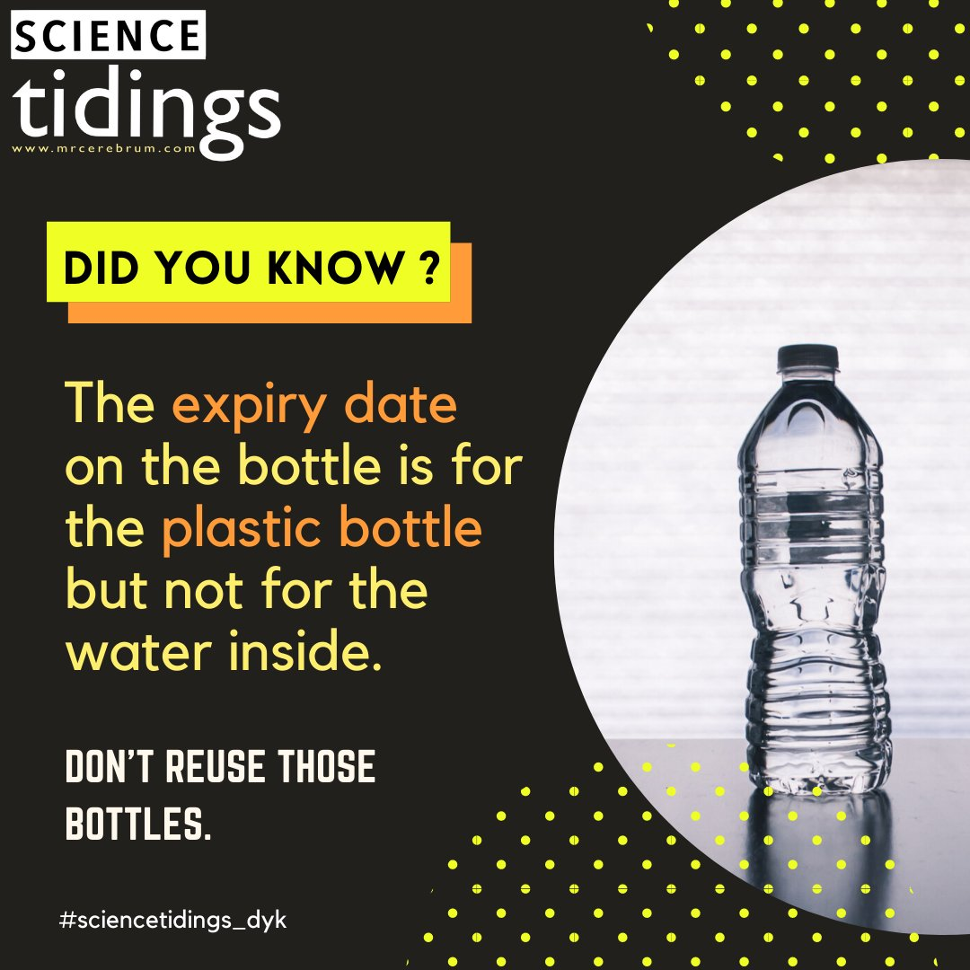 Another water bottle fact! So please don't reuse the water bottle. It is meant to be recycled. Plastic leaches into the water!  #science #didyouknow #amazingfacts #iasquestions #plastic #materials #chemistry #water #waterbottle #recycle #saynotoplastic #sciencecommpic.twitter.com/7NpfN7XEYB