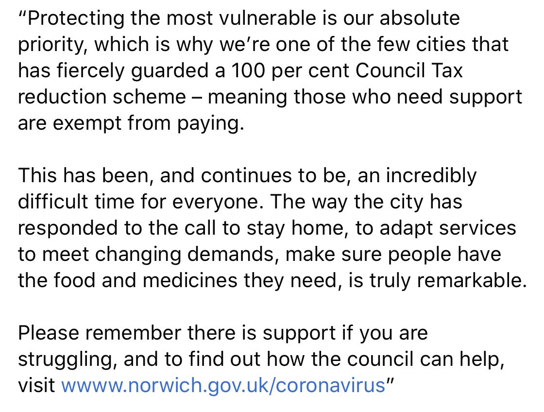 """💬 Labour Leader of @NorwichCC Cllr Alan Waters says: """"Protecting the most vulnerable is our absolute priority, which is why we're one of the few cities that has fiercely guarded a 100 per cent Council Tax reduction scheme: meaning those who need support are exempt from paying."""""""