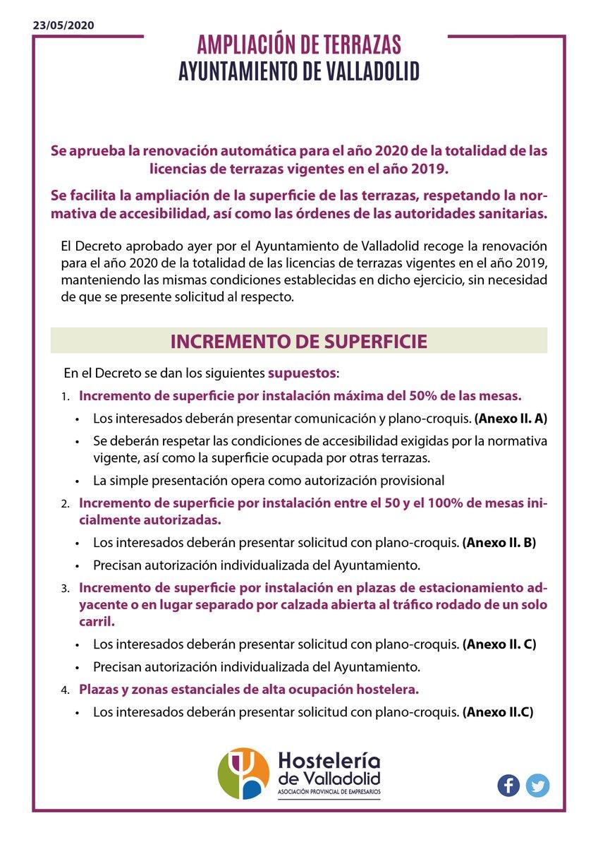 ‼️Boletín Informativo sobre la reapertura de Terrazas en Valladolid, y condiciones para solicitar su ampliación‼️