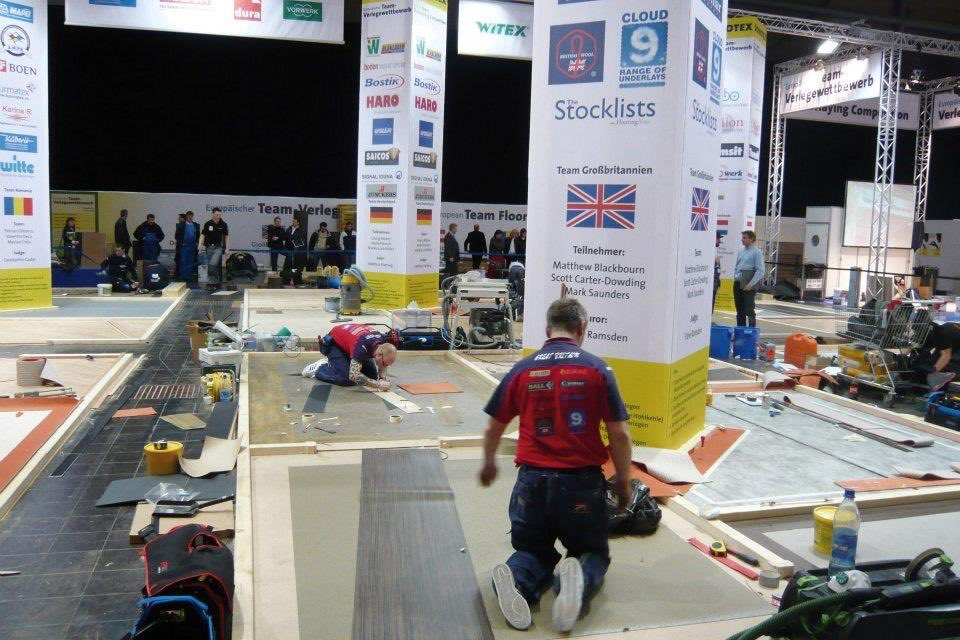 The 2009 UK team in the European floorlaying competition in Hanover Germany with Scott carter Dowding, Matthew Blackbourne and Mark Saunders @sparky3066 @LambournCarpets @thenicf