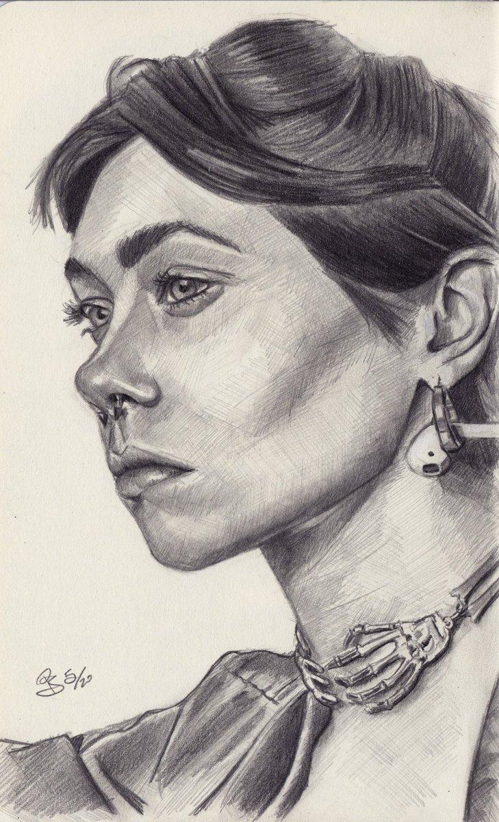 """Lizabeth"", #graphite  #pencil #portrait on #sketchbook  photo ref by Olenka Sergienko on @unsplash  #art #handdrawn #handdrawnart #teamdli  #pencildrawing #graphitedrawing #artist #iloveart #drawsomethingshowcase #united_artists_art_pic.twitter.com/xzTxxq4cQH"