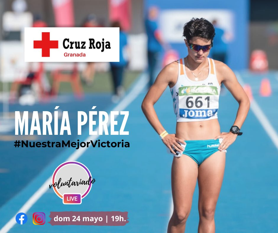 Mañana en nuestro perfil de instagram y facebook, una nueva entrega de #VoluntariadoLive con la participación de la deportista #MaríaPérez 😊 #NuestraMejorVictoria #Granada #CruzRojaResponde https://t.co/uXfmIN6e1M