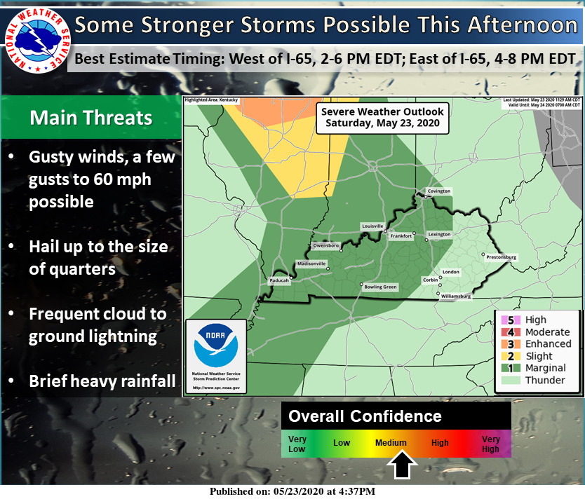 Some stronger storms are possible across the region this afternoon. #lmkwx #inwx #kywx https://t.co/H1DZiLqVzJ