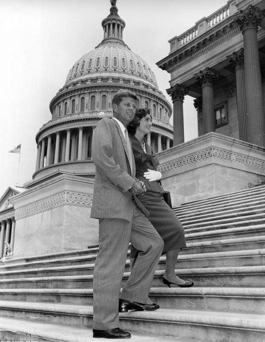 U.S. Senator John F. Kennedy and Jacqueline Kennedy at the Capitol in Washington DC on this date May 23 in 1955. Photo: AP. #JFKGuterman #OTD