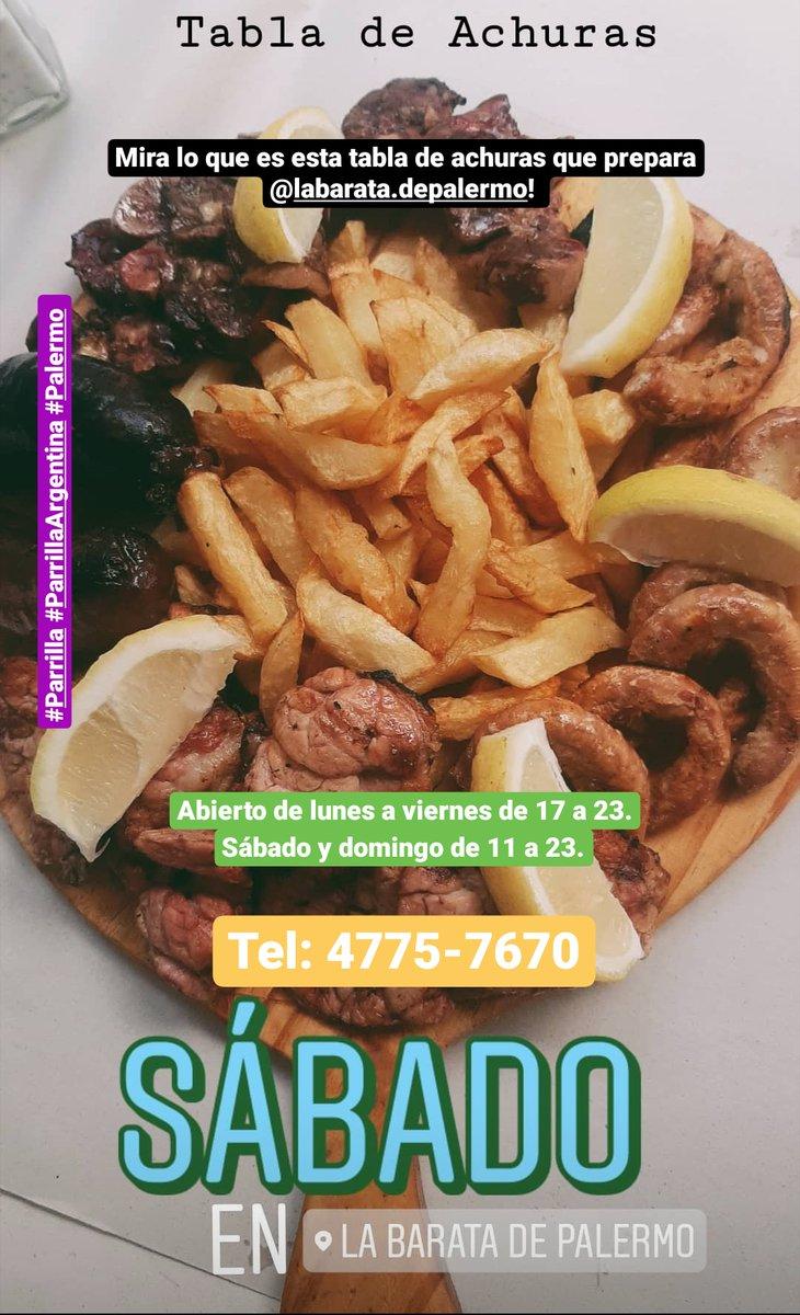 En esta cuarentena #LaBarataDePalermo te acompaña con los mejores platos! Abierto de lunes a viernes de 17 a 23. Sábado y domingo de 11 a 23. Hace tu pedido al: 4775-7670. #Parrilla #ParrillaArgentina #Palermopic.twitter.com/A2QOPzawQD