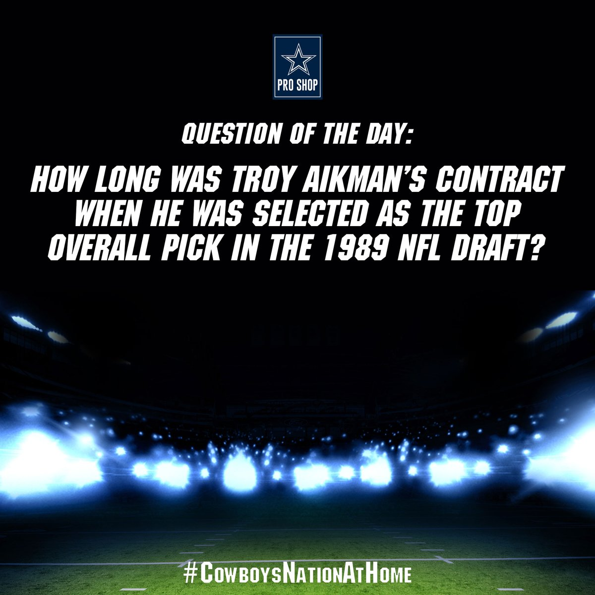 #CowboysNationAtHome | Question of the Day  How long was Troy Aikman's first #DallasCowboys contract? 📃  Reply here with your best guess #CowboysNation! Get it right & you could receive a surprise Pro Shop gift! https://t.co/XqHo1qDCYB