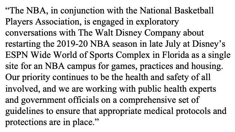 The following is a statement from NBA Chief Communications Officer Mike Bass: https://t.co/8gfK5iVXs8