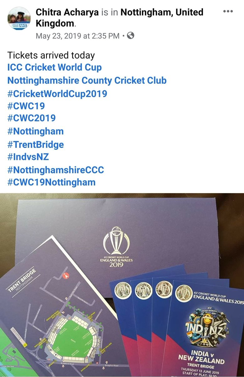1 year ago today  Our first set of #CricketWorldCup2019 tickets arrived  #INDvsNZ #CWC2019 #Nottingham  #TrentBridge @ICCCricket2019  @TrentBridge<br>http://pic.twitter.com/wOXSNyVT81