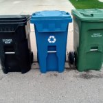 Image for the Tweet beginning: Garbage, recycling, and composting bins