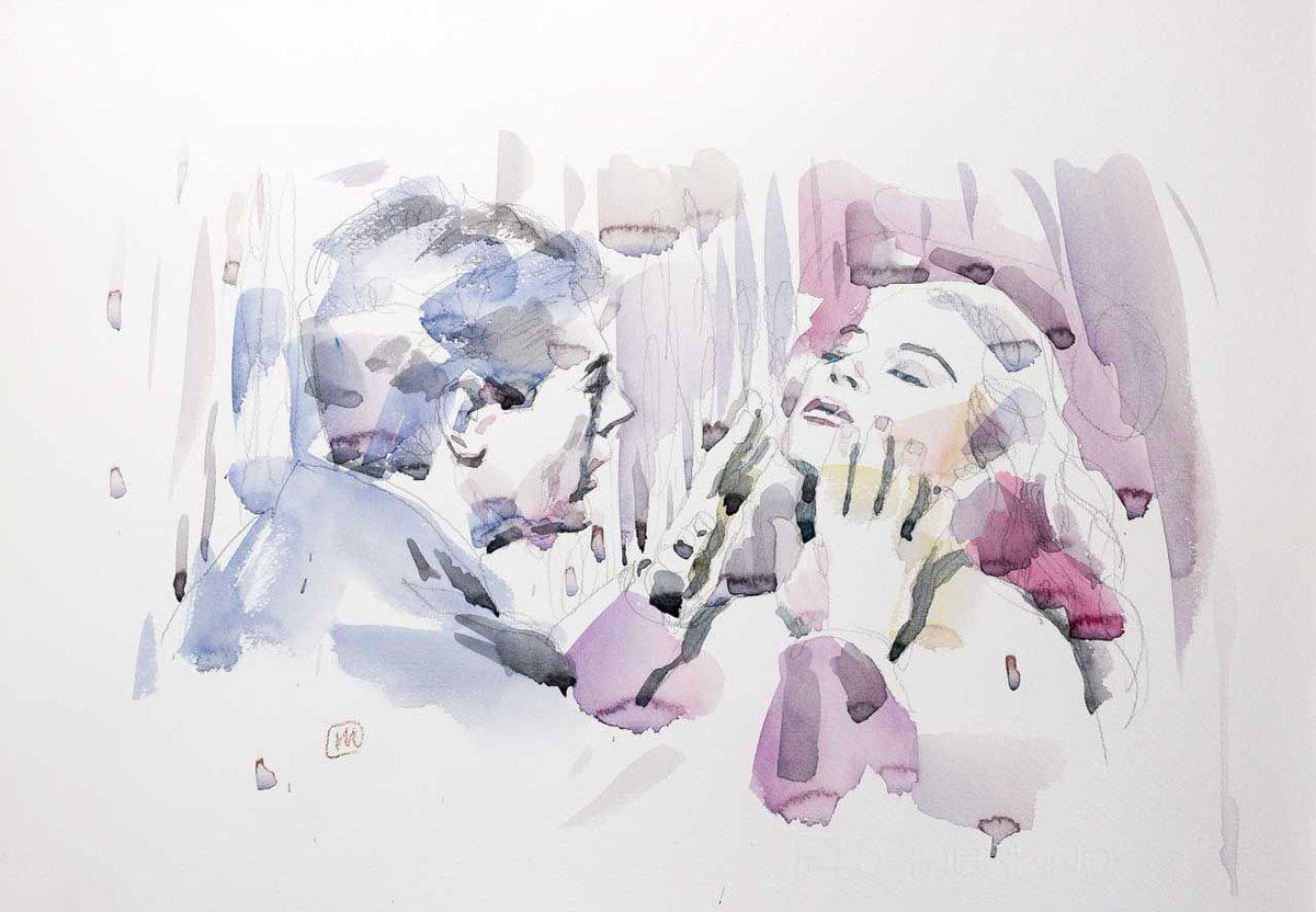 "Marcello and Anita – Watercolor on Paper, 2018, 35×50, one of a kind, series ""My Dolce Vita""  #166arte #andreamancini #artshare #bigartboost #wallart #homedecorideas https://buff.ly/2X4MX3Lpic.twitter.com/Npm6jYg3lA"