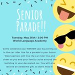 Image for the Tweet beginning: Calling all WLA seniors!! Please