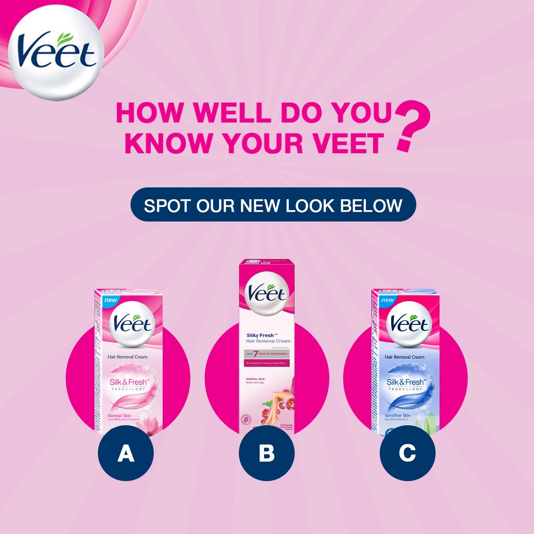 Veet Hair Removal Cream now comes in a new and improved pack.   Can you spot the new Veet pack below?   #JustVeetIt https://t.co/1igAk8ZgeP