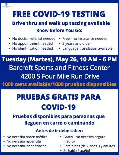 PRUEBAS GRATIS PARA COVID-19-Mart, 26 de Mayo, 10am-6pm. Pruebas disponibles para personas que lleguen en carro o caminando. Centro Deportivo y Atletico Barcroft. No necesita orden médica, no necesita hacer cita, no necesita ID, gratis-no necesita seguro médico. Se habla Español. <a target='_blank' href='https://t.co/it0SaqZJyk'>https://t.co/it0SaqZJyk</a>