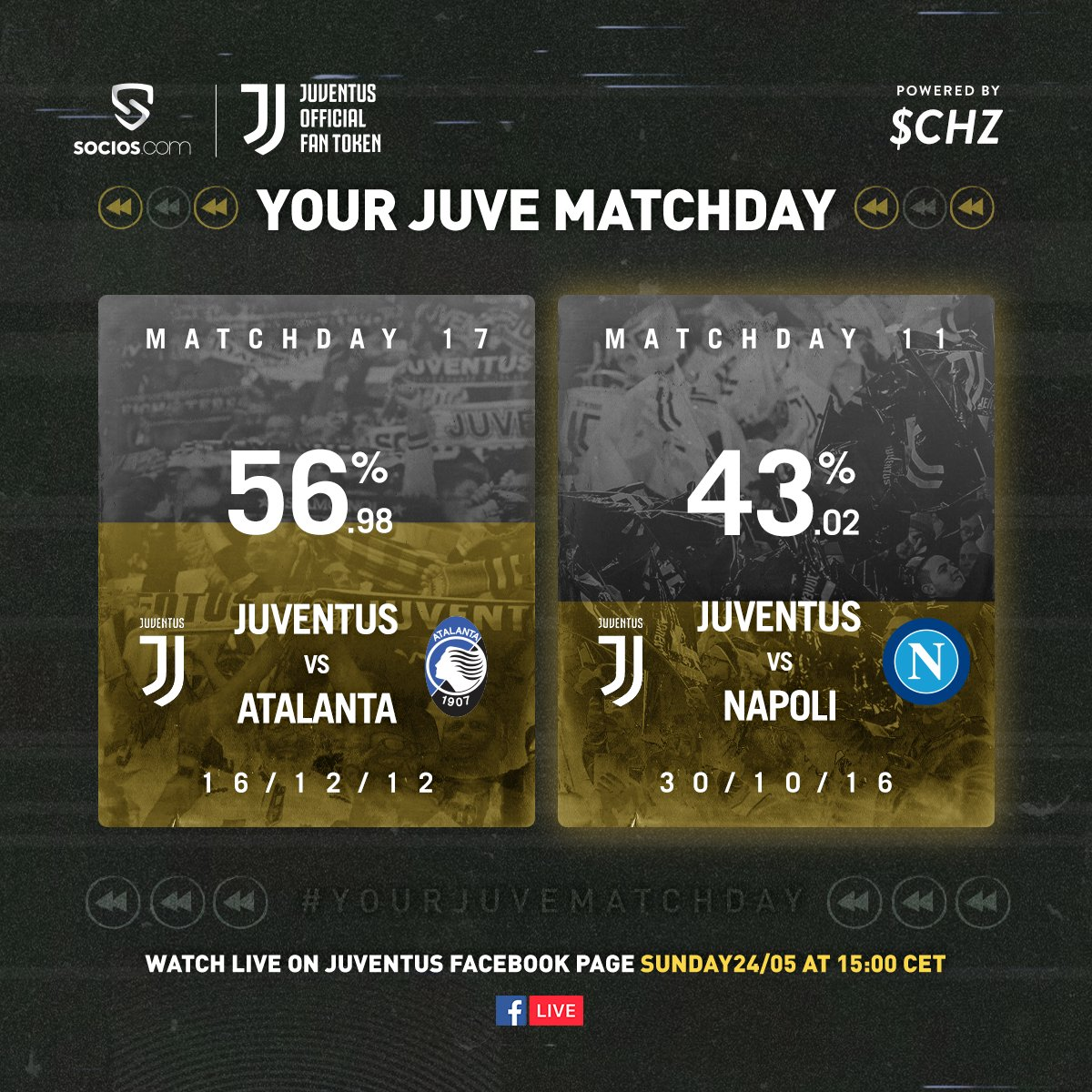 #JuveAtalanta wins The FINAL #YourJuveMatchday is here! ⚪️⚫️  Thanks for voting on the @socios app ➡️ https://t.co/AItpTdQj6v   WATCH ▶️ on https://t.co/wM2lV8RheP today at 15:00 CEST https://t.co/ez2A24NRS3