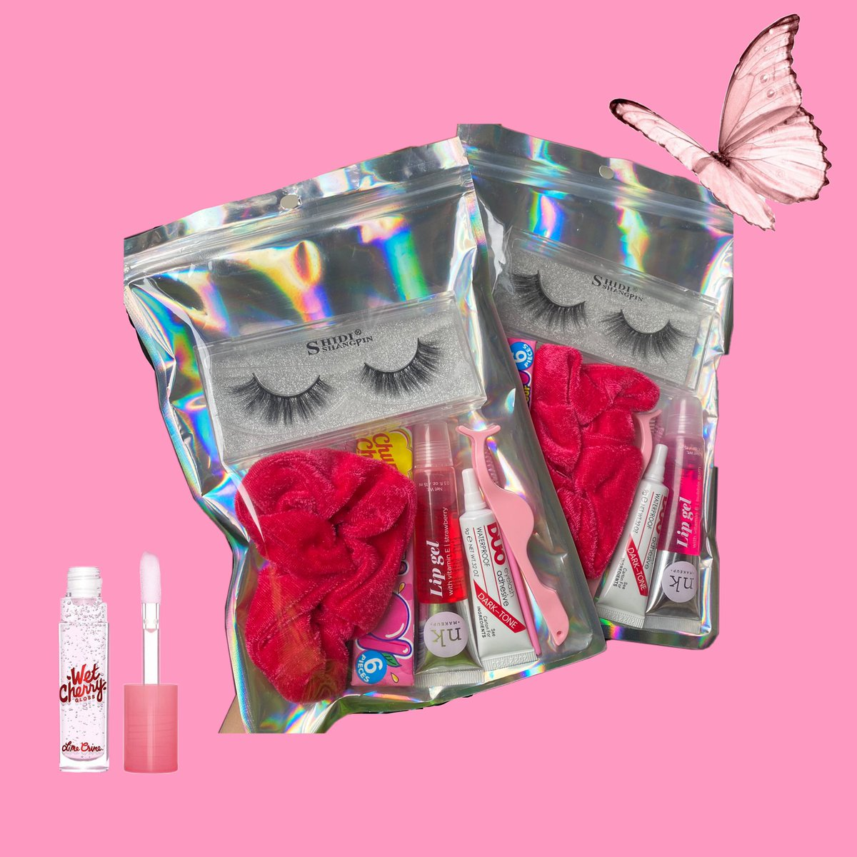 Ruby Kit !! 65MYR   contains : lashes, glue, applicator, eyebrow brushes, chewing gum, nicka k lipgloss   DM to order  <br>http://pic.twitter.com/fhyzTftluC