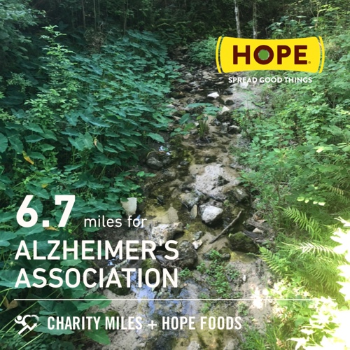 Made it back to Cofrin Park! 6.7 @CharityMiles for @alzassociation. Thx @HopeHummus for sponsoring me! #SpreadHope