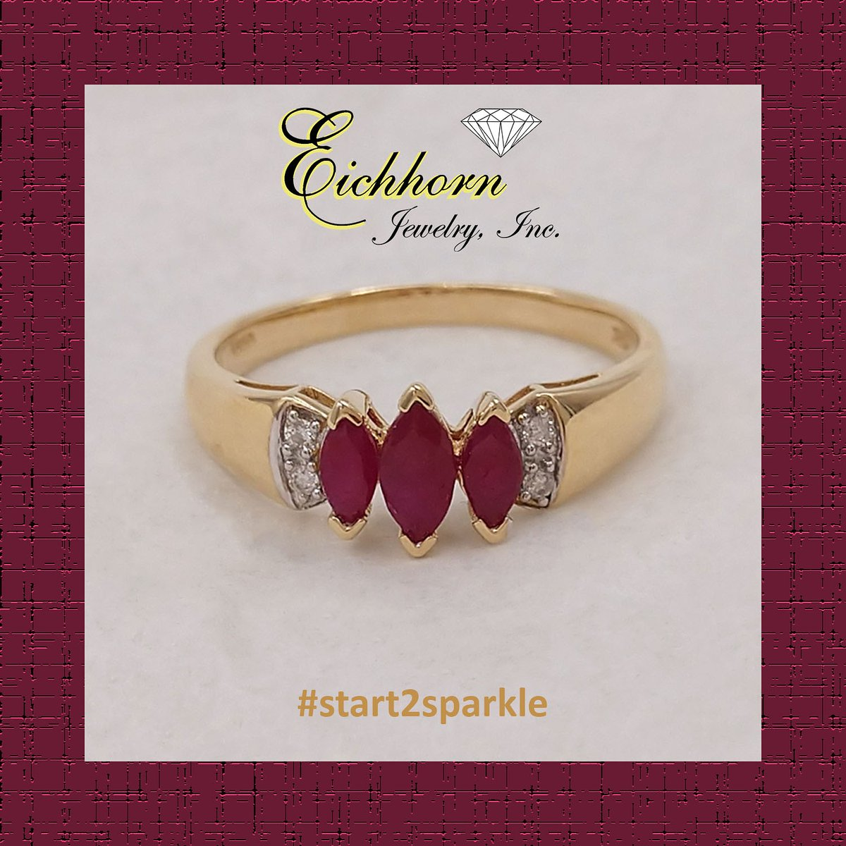 10K yellow gold Ring with 3 marquise-cut, glass-filled Rubies = .73 carat total weight and 4 round brilliant-cut Diamonds, finger size 8.25. From Our Estate Collection $200.  #start2sparkle #alwaysthinkDIAMONDS #eichhornglow #1diamondatatime #estatejewelry #rubyjewelry pic.twitter.com/kdGbLon2ba