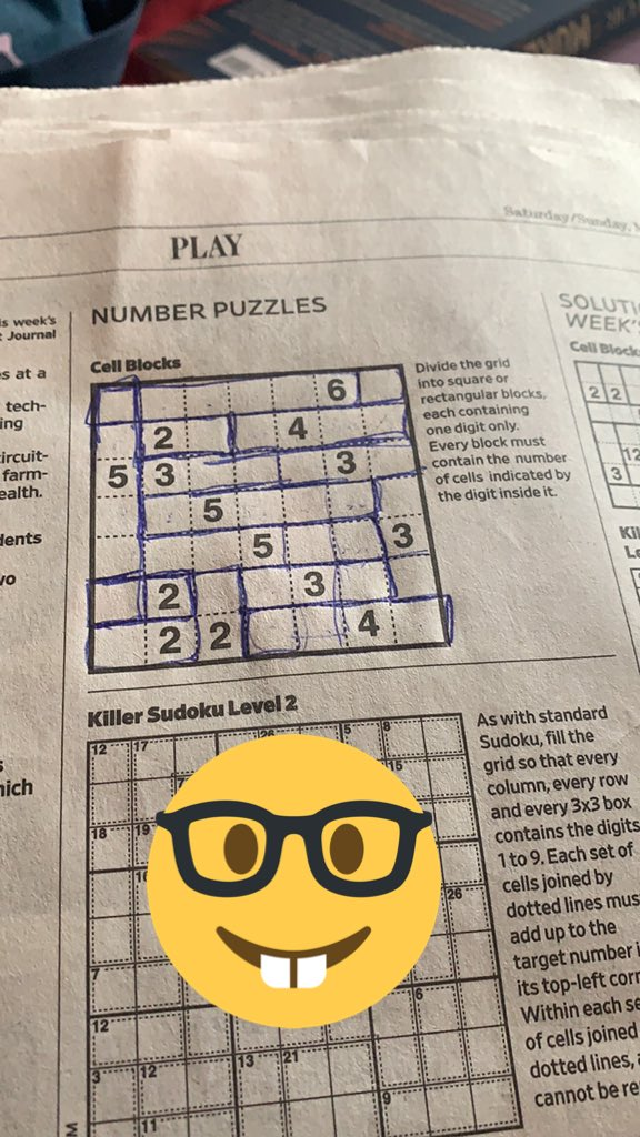 I did it!! I've never done a #CellBlocks puzzle before... it was fun! #NumberPuzzles #NerdLife @WSJpic.twitter.com/Jz1O9vjn1Z
