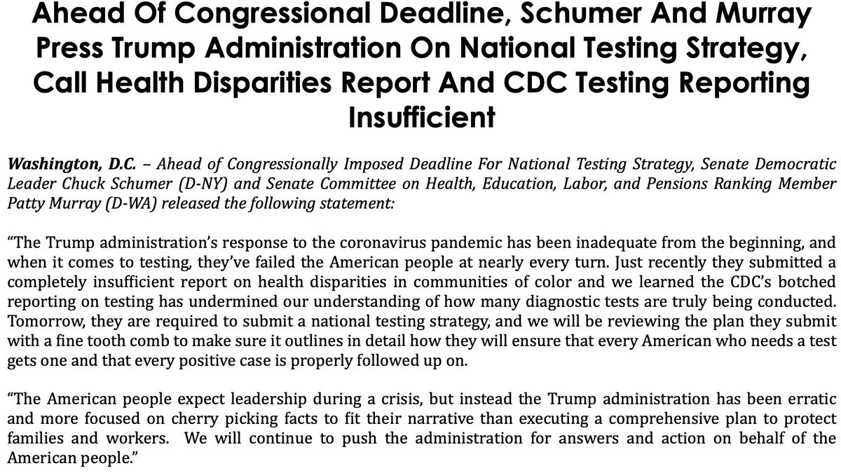 The Trump admin's response to COVID-19 has been inadequate from the beginning Tomorrow, theyre required to submit a national testing strategy Well review it with a fine tooth comb to make sure it outlines in detail how they will ensure every American who needs a test gets one