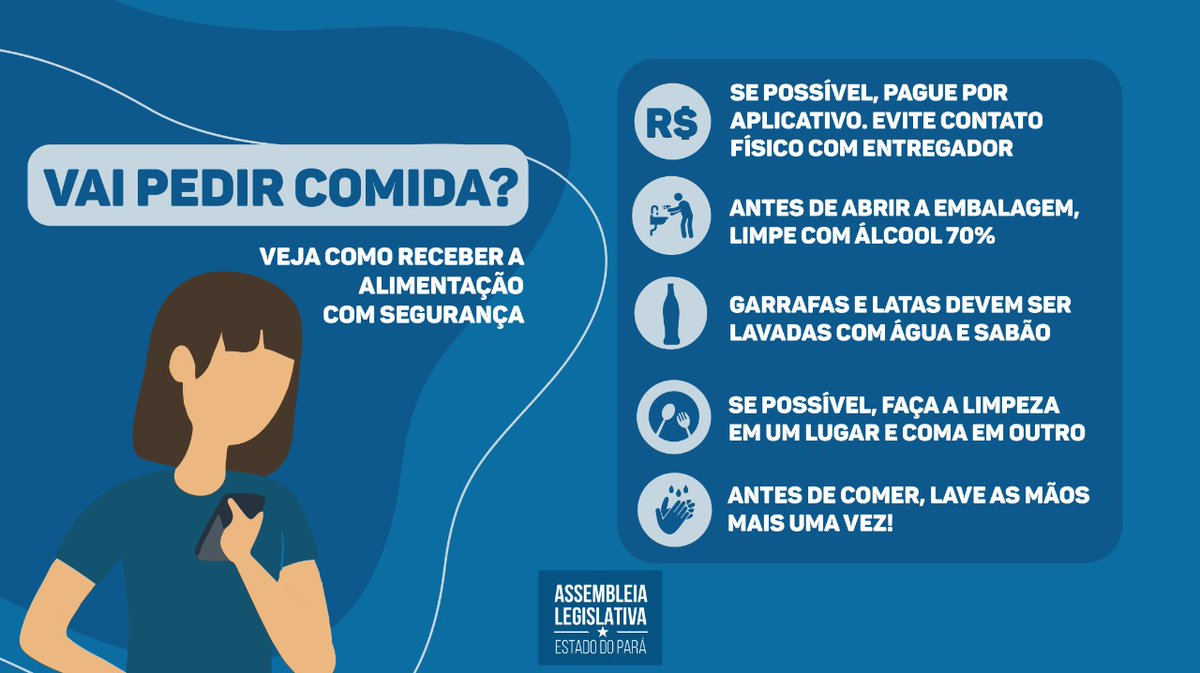 Medidas preventivas para evitar contaminação pelo coronavírus vão desde higienização de mãos e produtos a formas alternativas de pagamento. Veja algumas dicas. . #covid19 #higiene #delivery #cuidados #prevenção pic.twitter.com/N4KvDLVQND – at ALEPA - Assembleia Legislativa do Pará