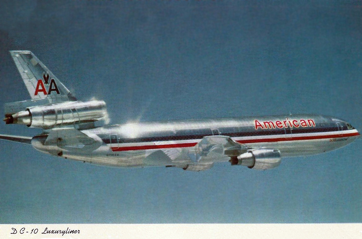 Shiny American Airlines DC-10 postcard #ephemera  #airplane #avgeek #avgeeks #aviation #travel #timetables #americanairlines @AusterityAirli1 @airlineguys @AmericanAir https://t.co/i77VFTmRw9