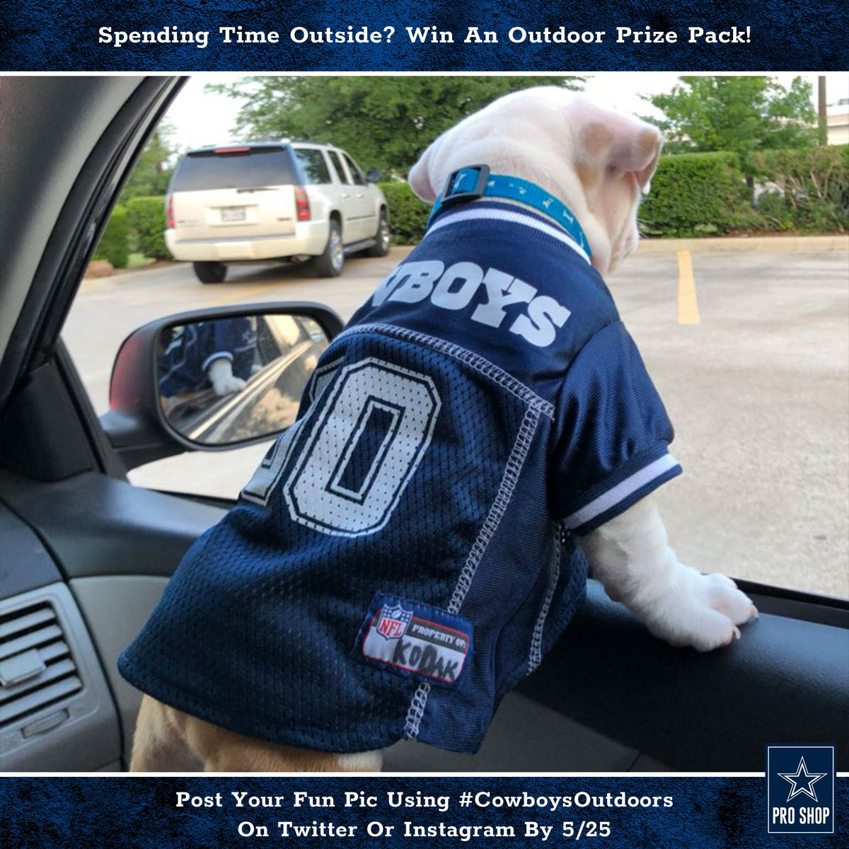 Don't miss your chance at a new #DallasCowboys prize pack!  1. Follow us 2. Post a pic of your time spent outside in your #CowboysNation gear using #CowboysOutdoors 3. You could win a Pro Shop package of awesome outdoor gear!  Enter by Monday 5/25. Rules: https://t.co/7JX0xUFgq5 https://t.co/RfeJygXckm