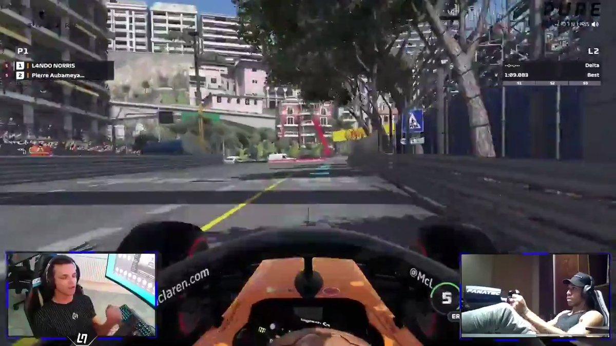 Training mode 🔛👊   Getting ready for the virtual #MonacoGP tomorrow with @LandoNorris and @Aubameyang7. 🤙 #VirtualGP @F1 @splunk