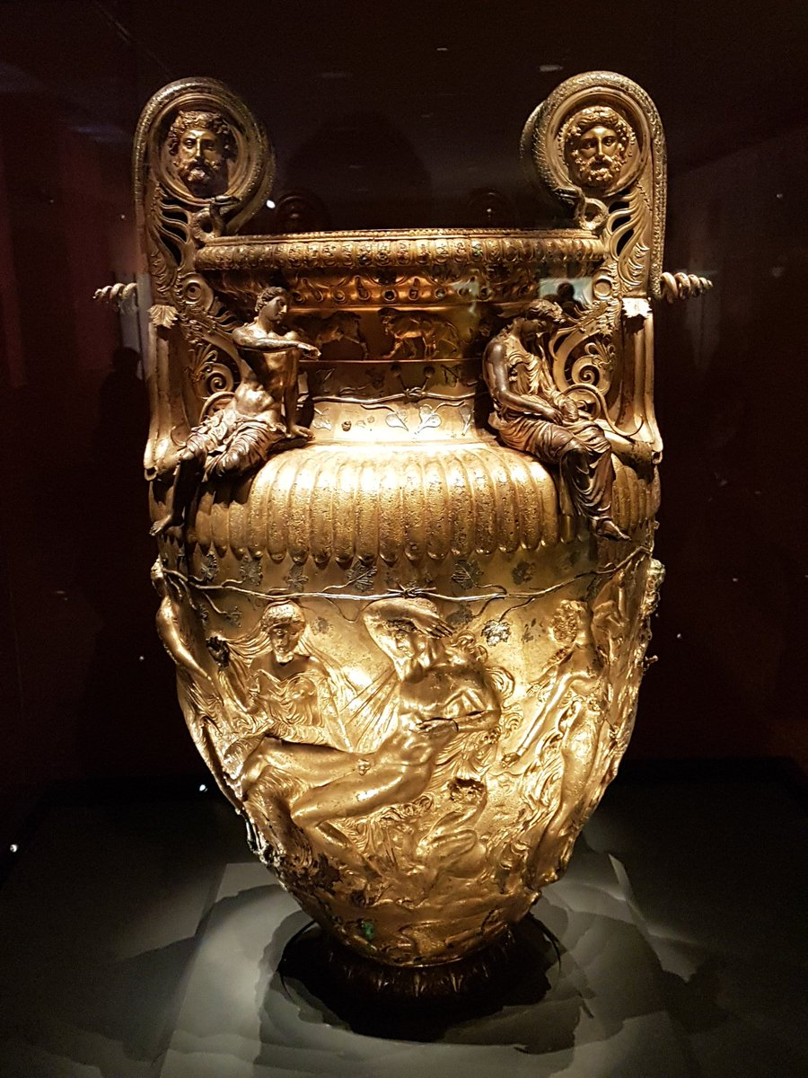 The incomparable Derveni crater in Thessalonike #MuseumsUnlocked #Greece Bronze, around 320BC, with Bacchus and Ariadne, satyrs & Maenads,  flowers & animals. 1000s of beautiful vessels in silver, bronze & gold came to ancient Rome, creating a hunger for luxury pic.twitter.com/Bmiso2BiEl