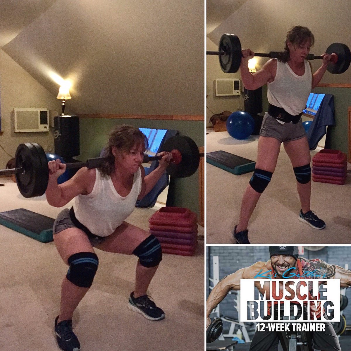 """I am realizing that I forgot to factor in the 20 lb bar when loading up for squats, thinking I was squatting 100 lbs & actually doing 120, wondering,""""Why am I so weak today?"""" . . Duh.   Link to my program.  https://goto.bodybuilding.com/LGoVL #squats #weightlifting #gymlife #fitnesspic.twitter.com/3VZRGLO9z3"""