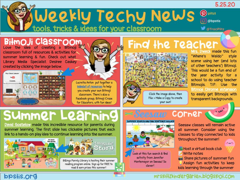 Last Weekly Tech-y News📰 of the year!☀️ This one has some fun @Bitmoji ideas, plus Summer 😎 Learning 📚 to share with students & parents. https://t.co/WGIzNnoS1b #BPSLearns #MTEdchat 🏖️🍉 https://t.co/Nn7asG9Xrx