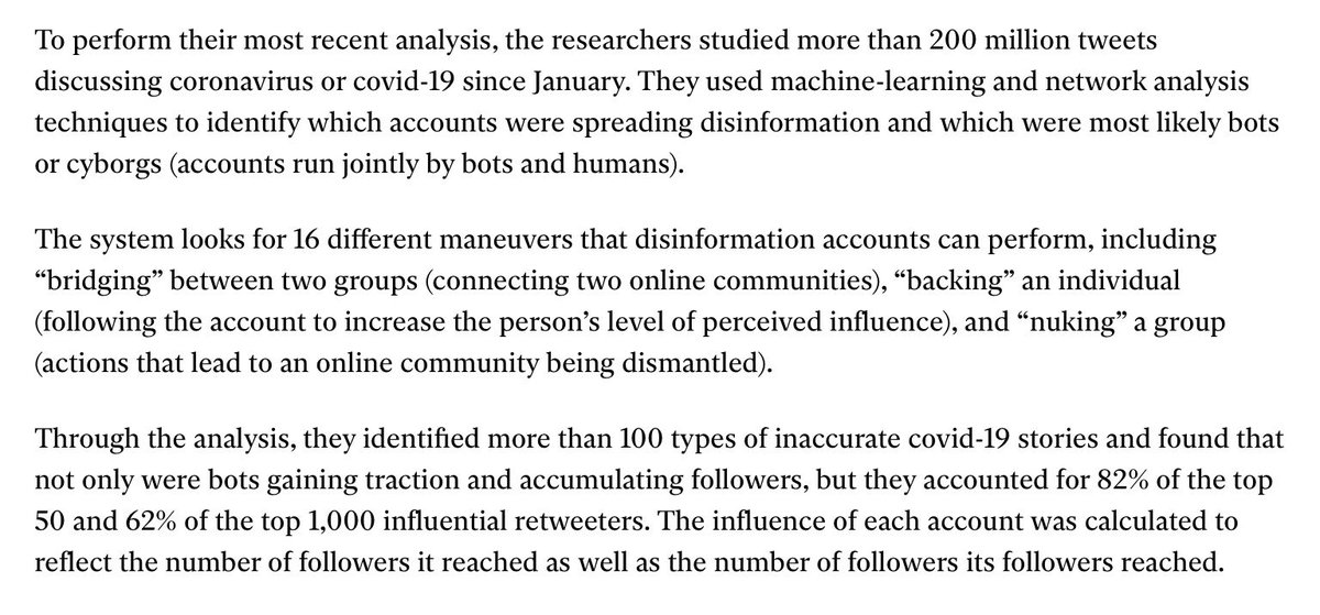 Nearly half of Twitter accounts pushing to reopen America may be bots | technologyreview.com/2020/05/21/100… by @_KarenHao @techreview Thanks to work by Kathleen Carley and team @IDeaSCMU