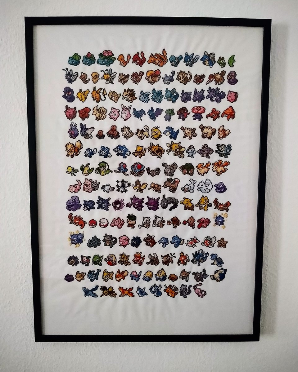 Realised I haven't posted about this project on twitter and now it's finished so might as well have it here as well #pokemon #crossstitch #handmade pic.twitter.com/aj1aOTwNDT