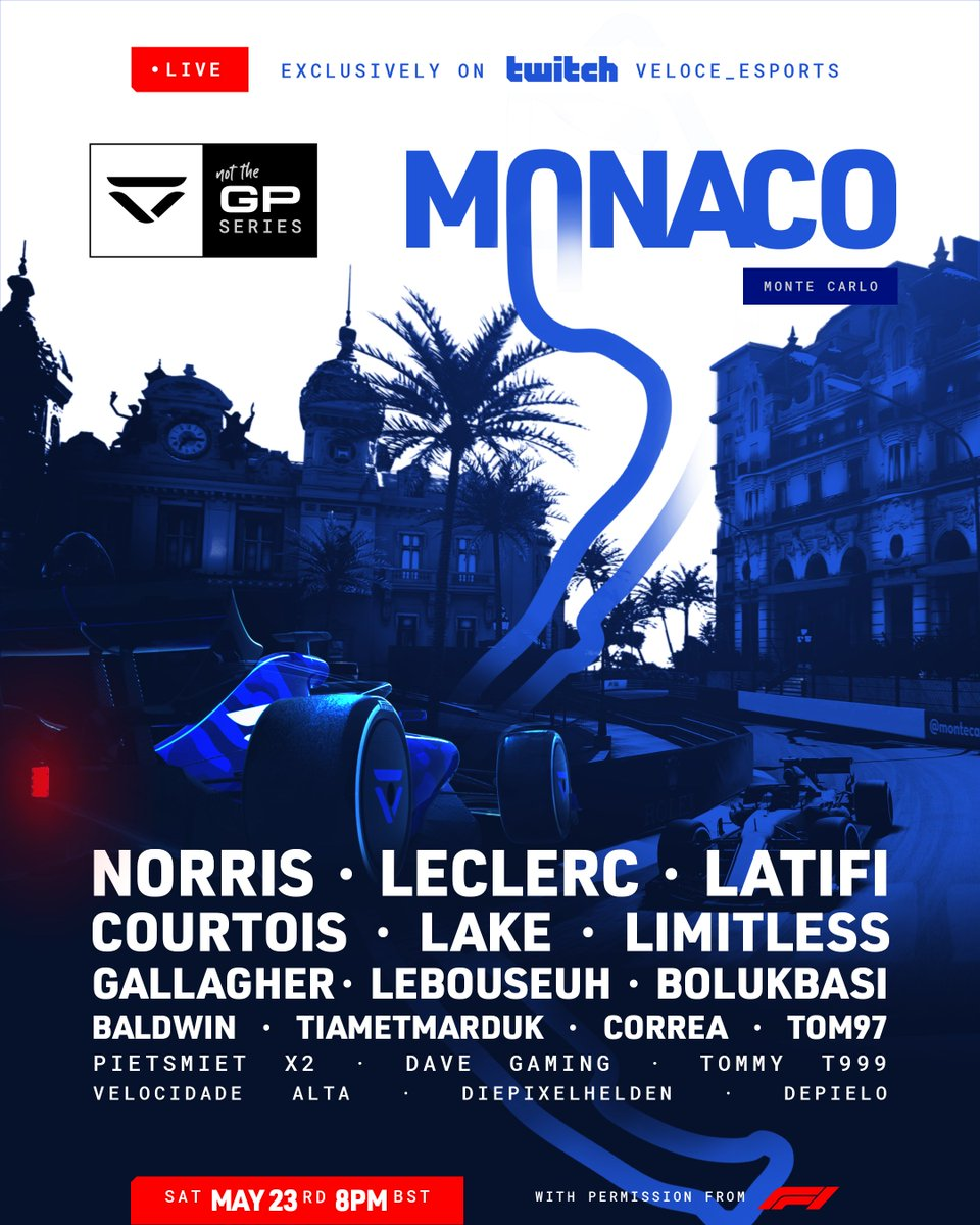 Up for a challenge racing through the tough streets of Monaco. Let's cut some corners! 🛣 #NotTheGP @VeloceEsports https://t.co/g6j0tLwA8p