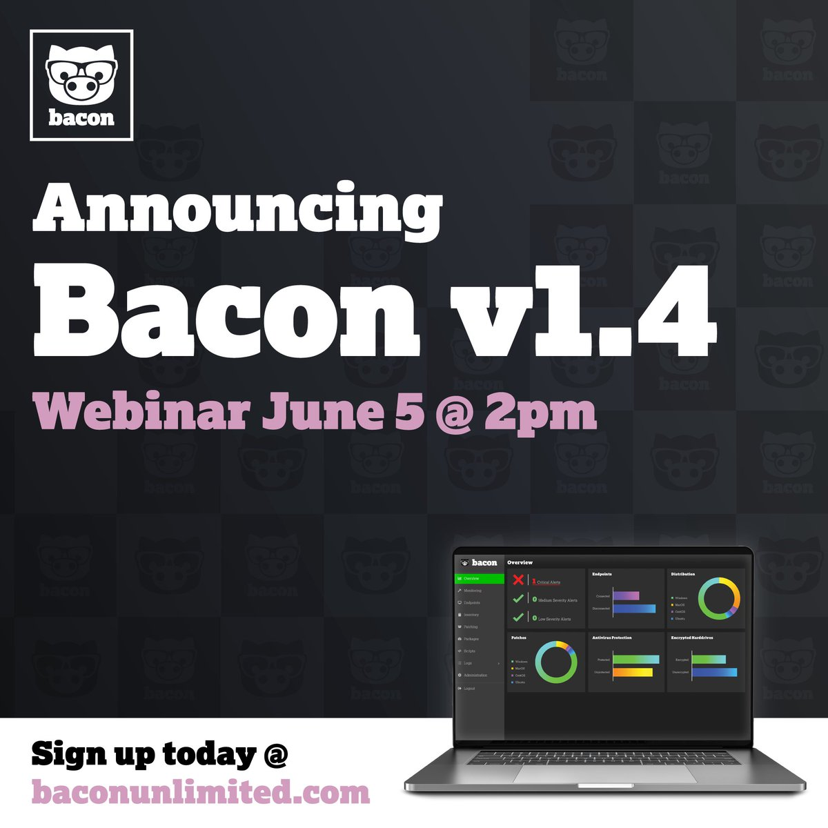Announcing Bacon v1.4! FREE #webinar on June 5 @ 2pm.  Simplify your IT and sign up today at https://baconunlimited.com  #baconunlimited #getbacon #bacon #itsupport #itservices #itsoftware #tech #newtech #technology #innovation #workstation #computerpic.twitter.com/SeETy8wbBH