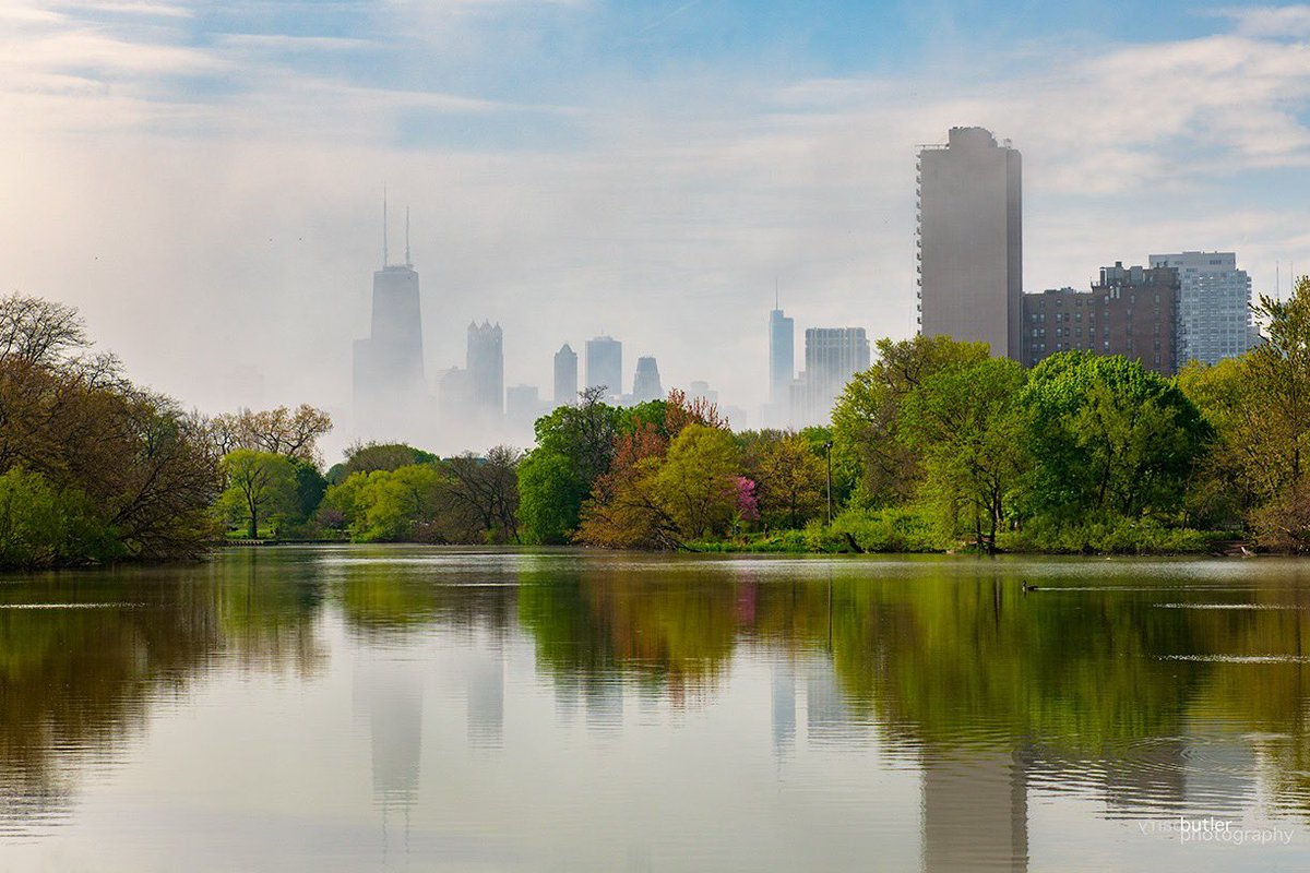 Saturday morning fog reflections in North Pond, Chicago. #weather #news #ilwx #chicago pic.twitter.com/33hQrTABBP