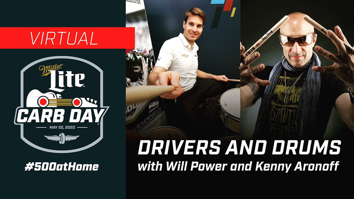 It was so cool to talk & play with IndyCar legend Will Power for the Virtual Carb Day yesterday, check it out here: bit.ly/3egEbXF @12WillPower #500athome #indi500 #formula1 @TAMAofficial @tamauk @zildjiancompany @vicfirth @evansdrumheads @humesandberg