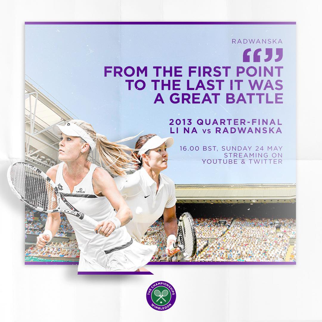 A classic meeting of two great tennis minds 🧠 Well be replaying the 2013 Quarter-final between Li Na and @ARadwanska on Sunday at 4pm BST, right here on Twitter 🙌 #Wimbledon