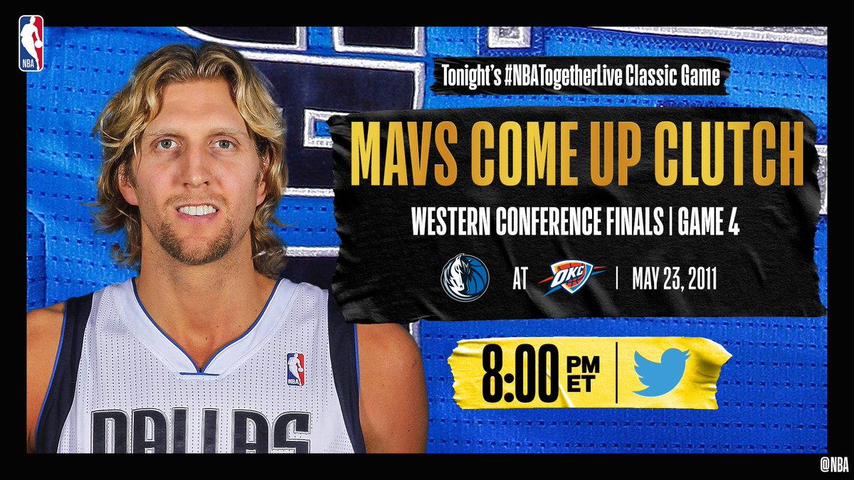 Tonight's #NBATogetherLive Classic Game will feature @dallasmavs / @okcthunder Game 4 of the Western Conference Finals (5/23/2011)!  We're streaming it live & watching together here on @NBA at 8:00pm/et. https://t.co/Jp65CBCyfJ