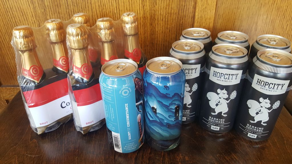 Today's Drink Specials to Go With Your Lunch All Cans $5 many to choose from  Codorniu 3 pack $18 Hop City Barking Squirrel 6 pack $25 Collective Arts Saint of Circumstance 6 pack $25 Ch. Des Charmes Chardonnay $17 #onestopshop #beerandwineTOGO