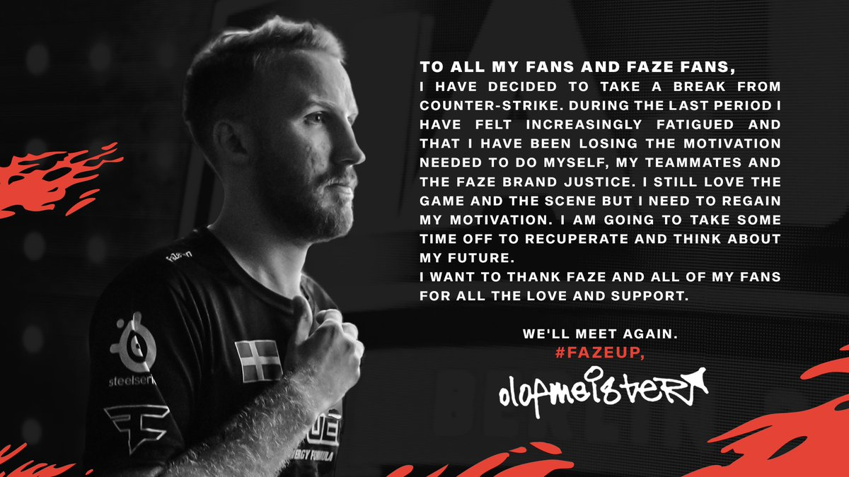 A statement from @olofmeister. #FaZeUp https://t.co/WnRnxCPk9p