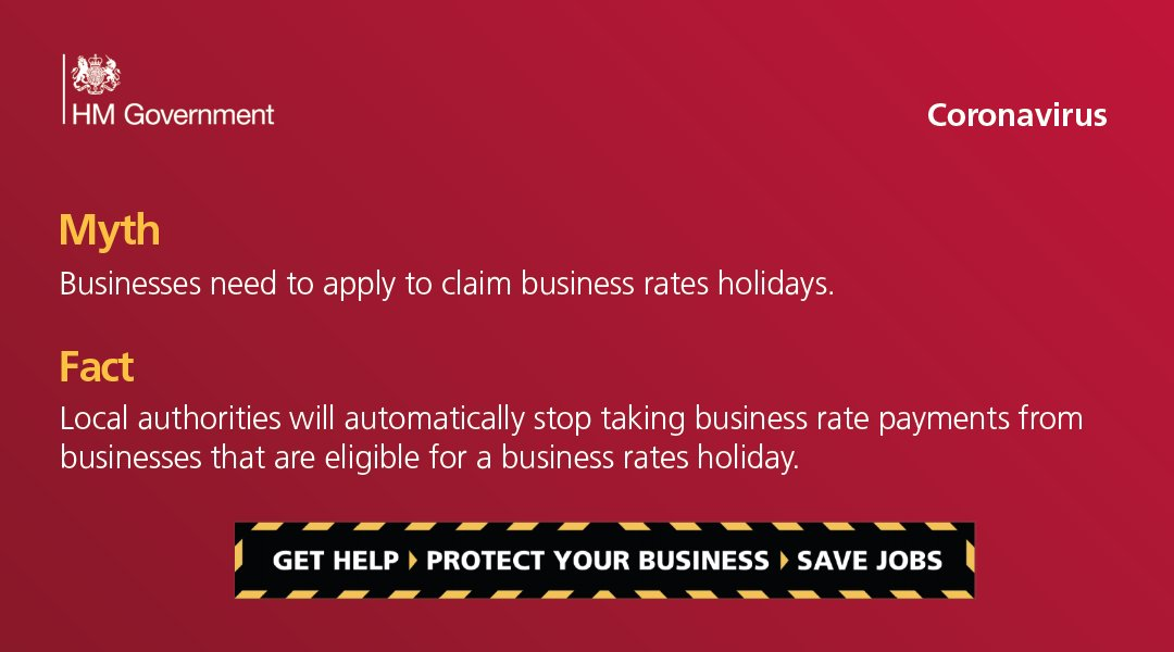 Fact: Local authorities will automatically stop taking business rates payments from businesses that are eligible for a business rates holiday. To find out more visit: gov.uk/business-suppo…