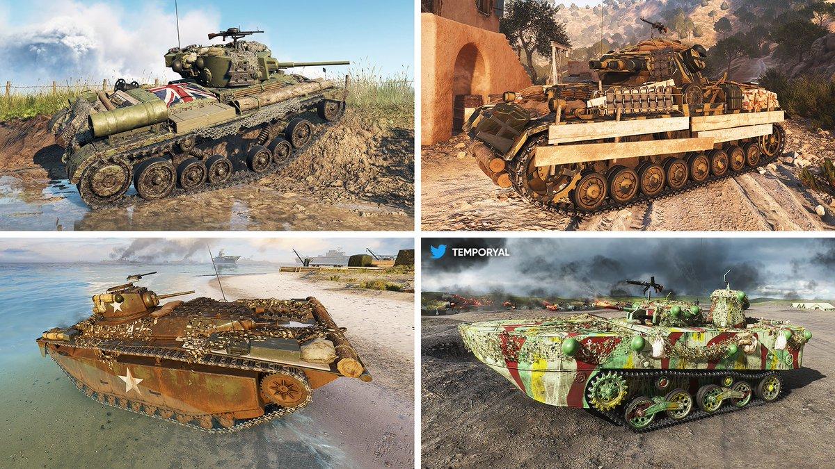 "First screenshots of four unreleased Tank Body Customizations in #BattlefieldV:   Vanguard (Valentine Mk VIII) 🛠️ Combat Engineer (Panzer IV) 🛡️ Armored Spearhead (LVT)  Herasser (Ka-Mi)  All dressings are ""epic"". Paint jobs of the amphibious vehicles: ""Drowned"" & ""Okinawa"". https://t.co/Vz1oERVjji"