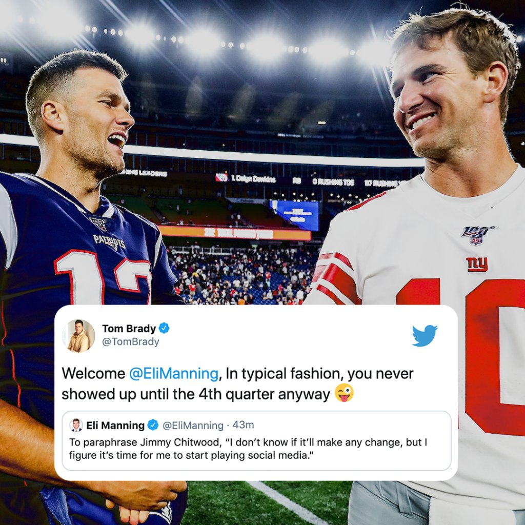 Welcome to Twitter, @EliManning. In case you missed it, @TomBrady has no chill 😂