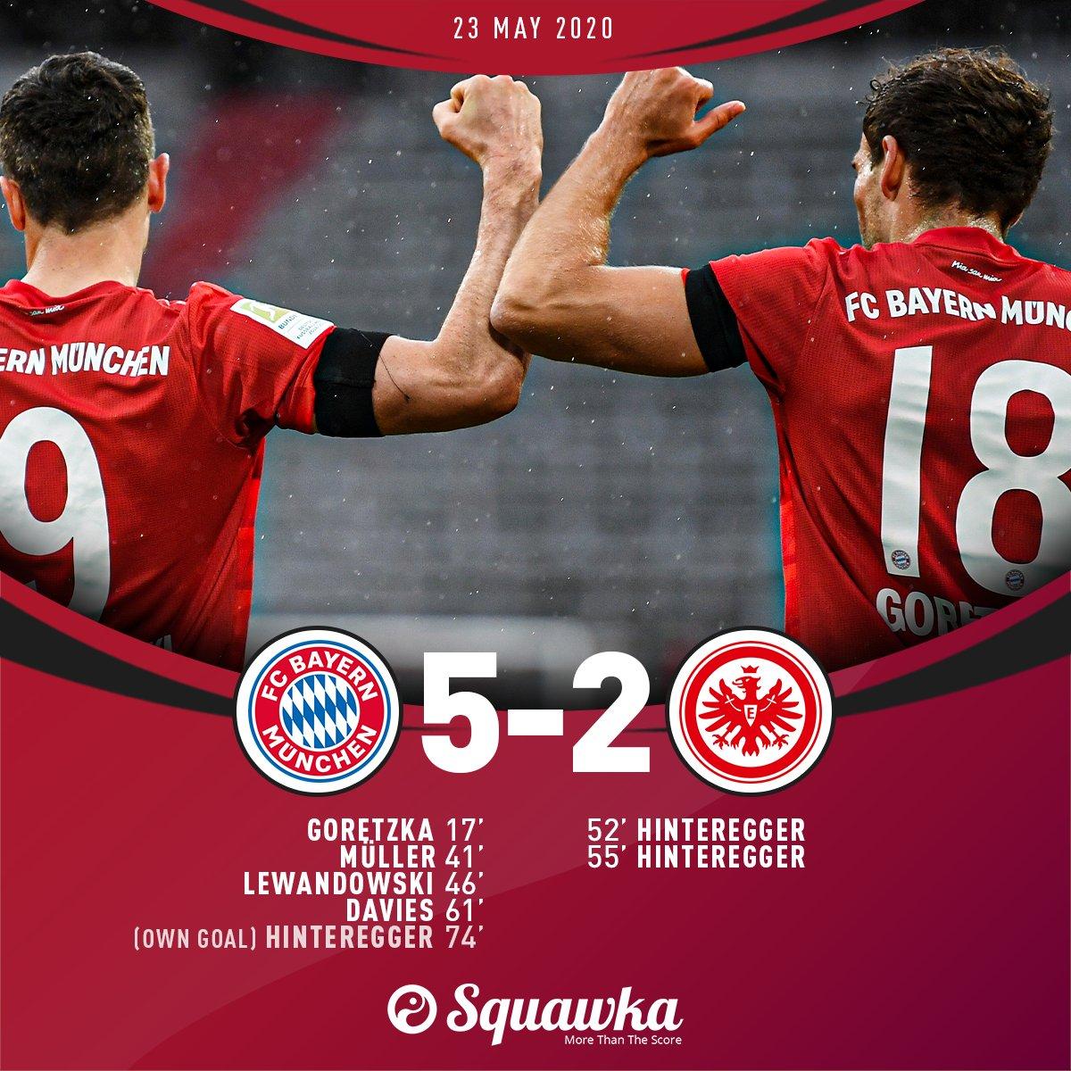 17: Bayern 1-0 Eintracht 41: Bayern 2-0 Eintracht 46: Bayern 3-0 Eintracht 52: Bayern 3-1 Eintracht 55: Bayern 3-2 Eintracht 61: Bayern 4-2 Eintracht 74: Bayern 5-2 Eintracht More, please. 😍